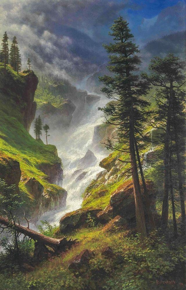 konfigurieren des Kunstdrucks in Wunschgröße Rocky Mountain Waterfall von Bierstadt, Albert