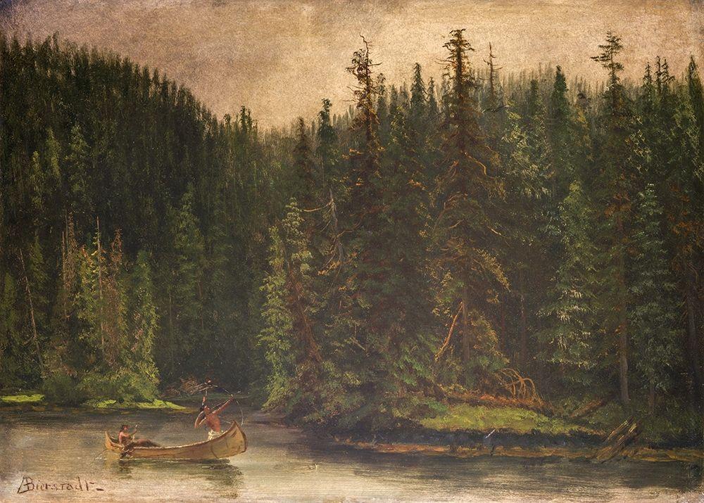 konfigurieren des Kunstdrucks in Wunschgröße Indian Hunters in Canoe von Bierstadt, Albert