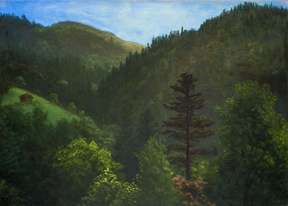 konfigurieren des Kunstdrucks in Wunschgröße Wooded Landscape von Bierstadt, Albert