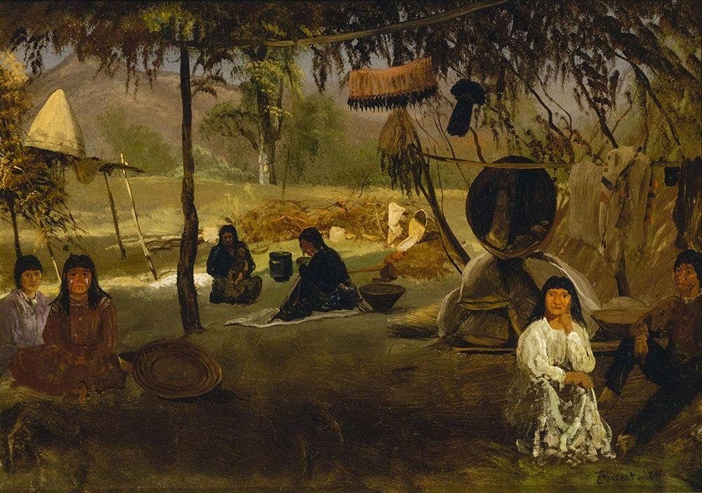 konfigurieren des Kunstdrucks in Wunschgröße California Indian Camp von Bierstadt, Albert
