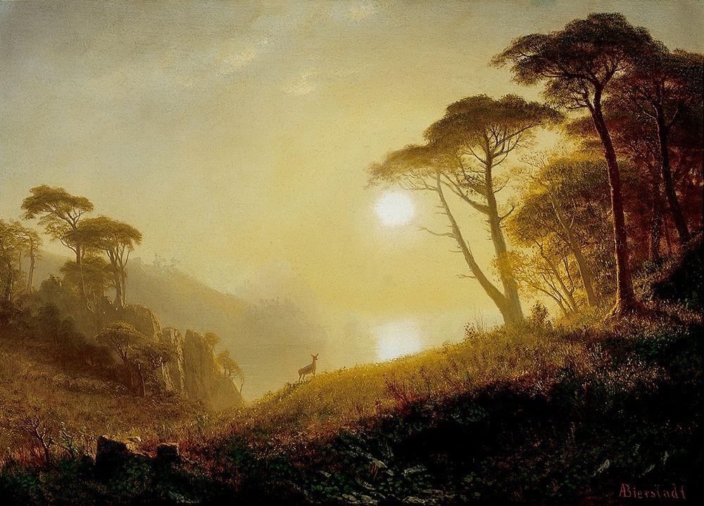 konfigurieren des Kunstdrucks in Wunschgröße Scene in Yosemite Valley von Bierstadt, Albert