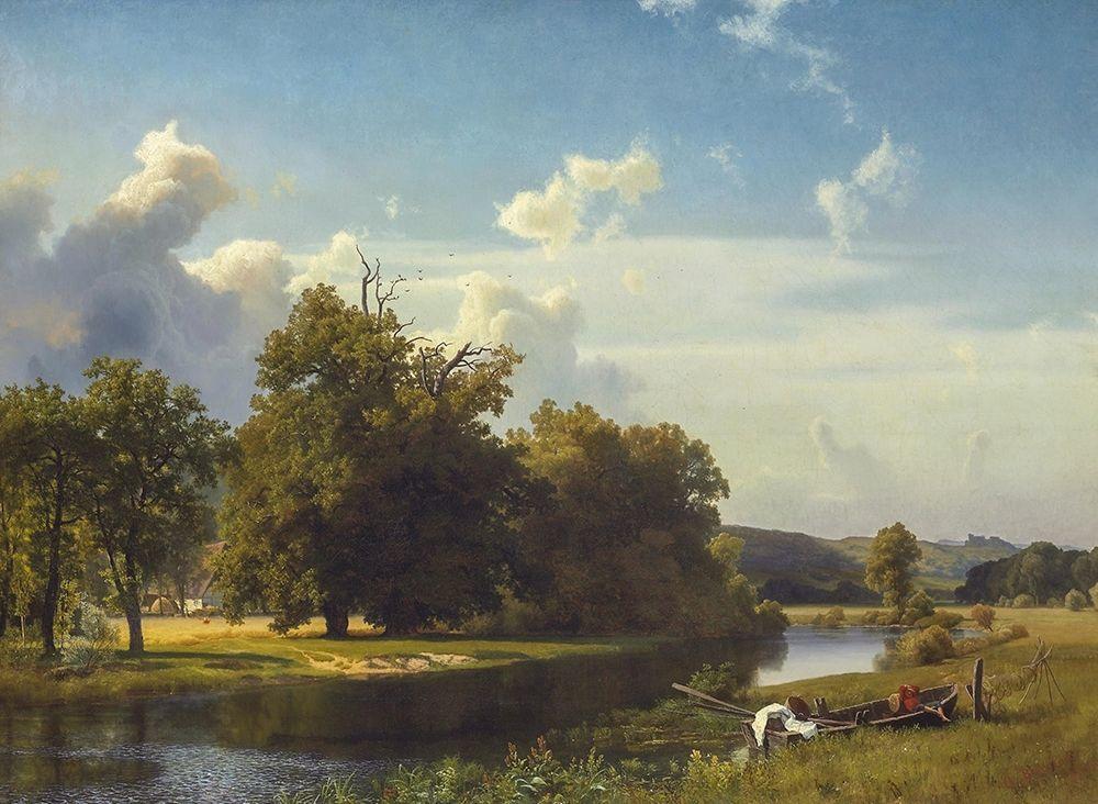 konfigurieren des Kunstdrucks in Wunschgröße A River Landscape, Westphalia von Bierstadt, Albert