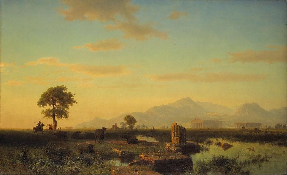 konfigurieren des Kunstdrucks in Wunschgröße Ruins of Paestum von Bierstadt, Albert