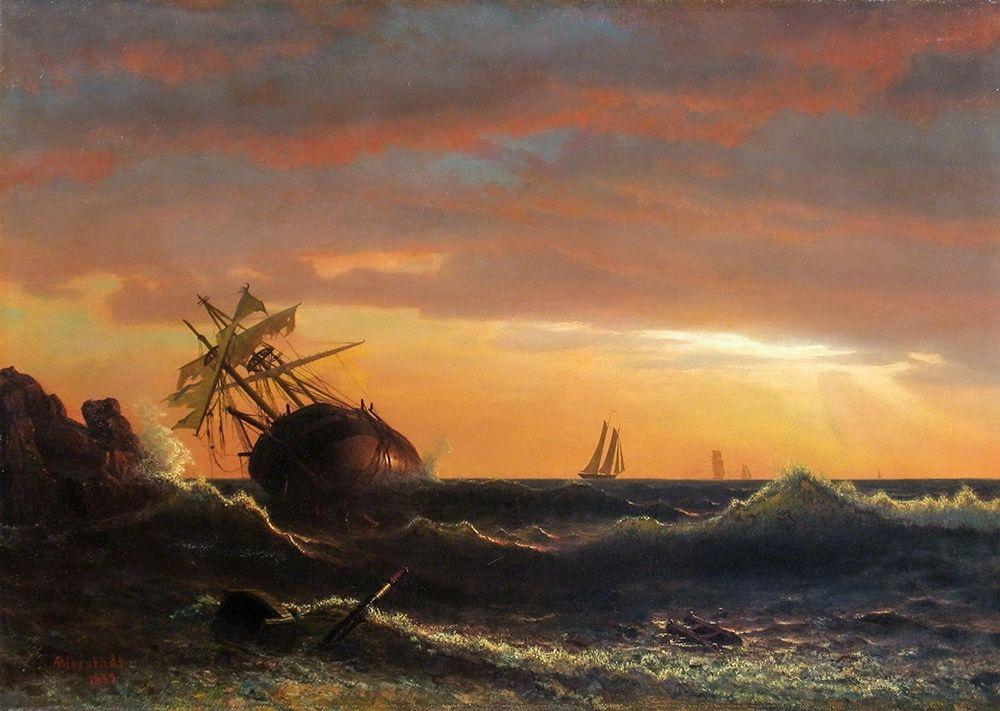 konfigurieren des Kunstdrucks in Wunschgröße Beached Ship von Bierstadt, Albert