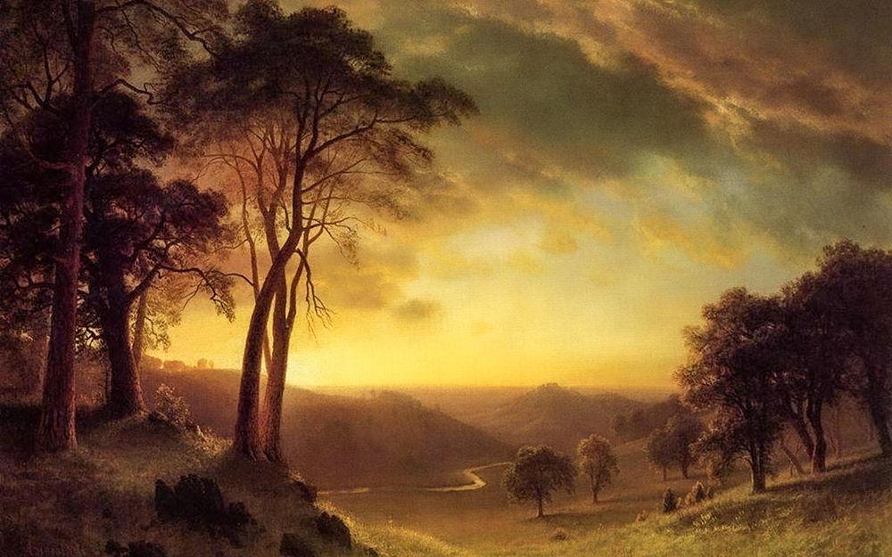 konfigurieren des Kunstdrucks in Wunschgröße Sacramento River Valley von Bierstadt, Albert