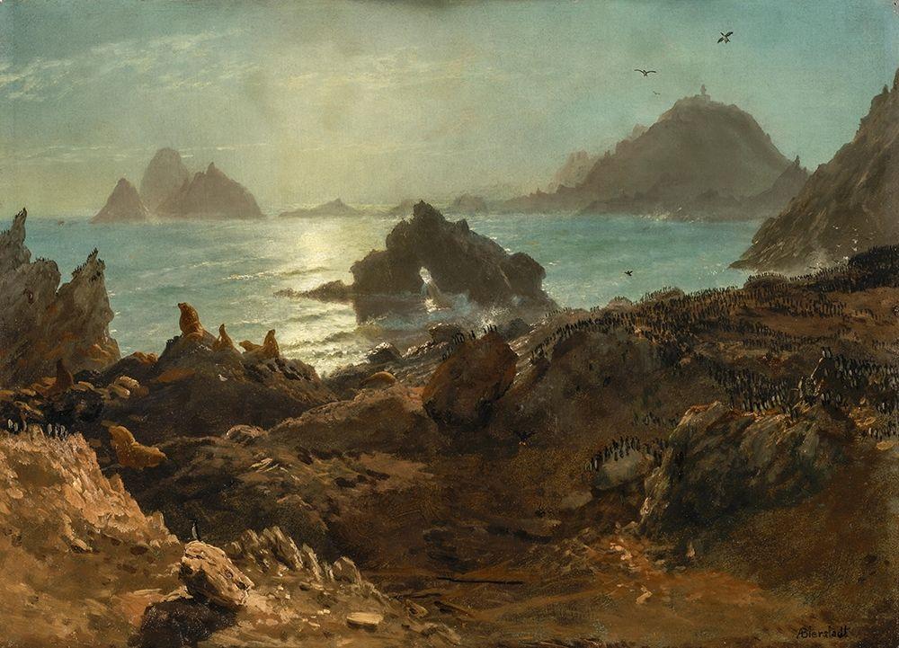 konfigurieren des Kunstdrucks in Wunschgröße Farallon Islands, Pacific Ocean, California von Bierstadt, Albert