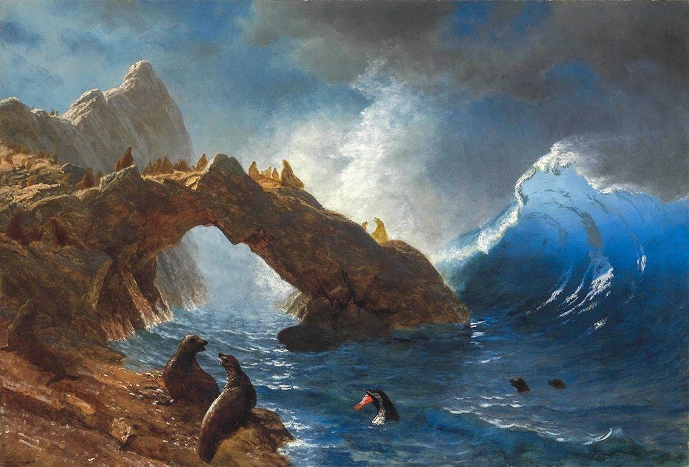 konfigurieren des Kunstdrucks in Wunschgröße Seals on the Rocks von Bierstadt, Albert