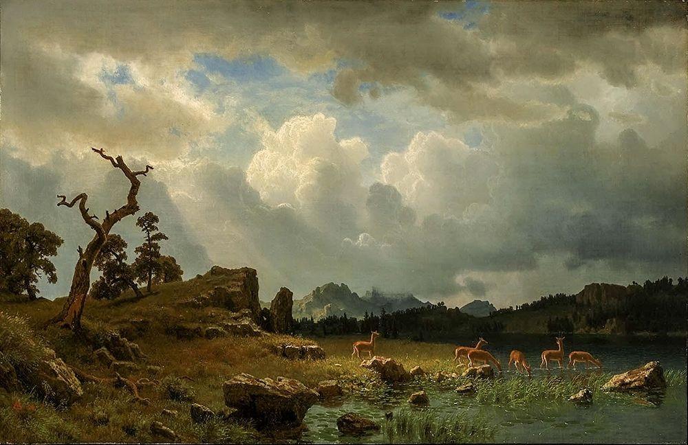 konfigurieren des Kunstdrucks in Wunschgröße Thunderstorm in the Rocky Mountains von Bierstadt, Albert