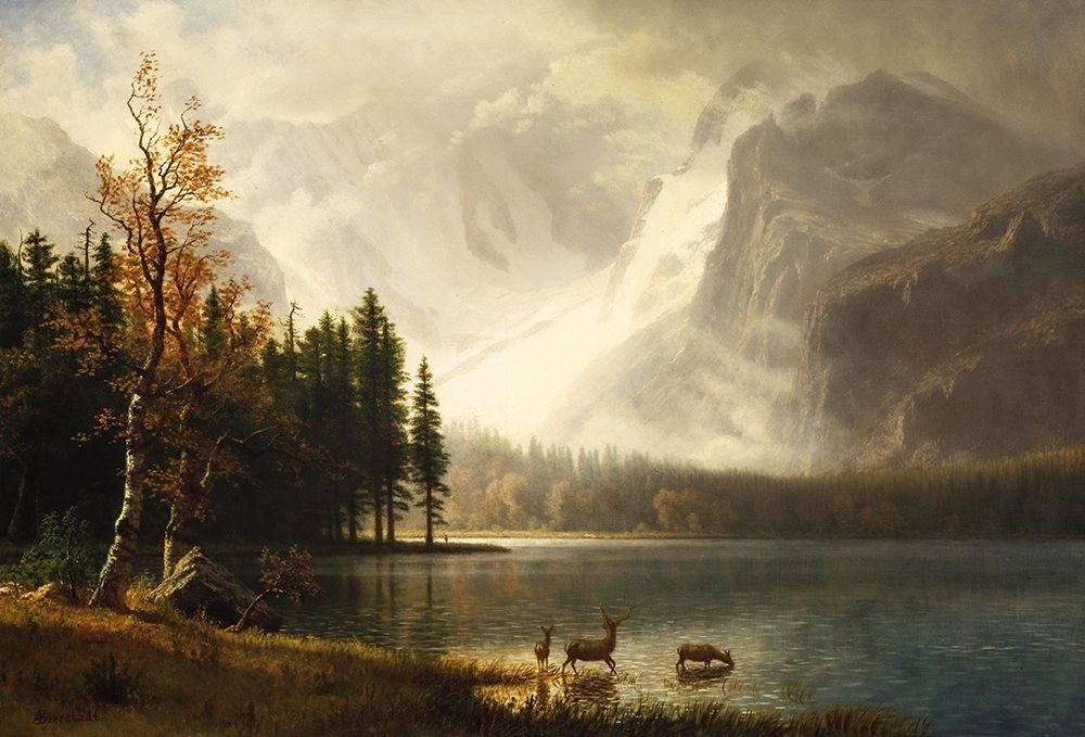 konfigurieren des Kunstdrucks in Wunschgröße Estes Park, Colorado, Whytes Lake von Bierstadt, Albert