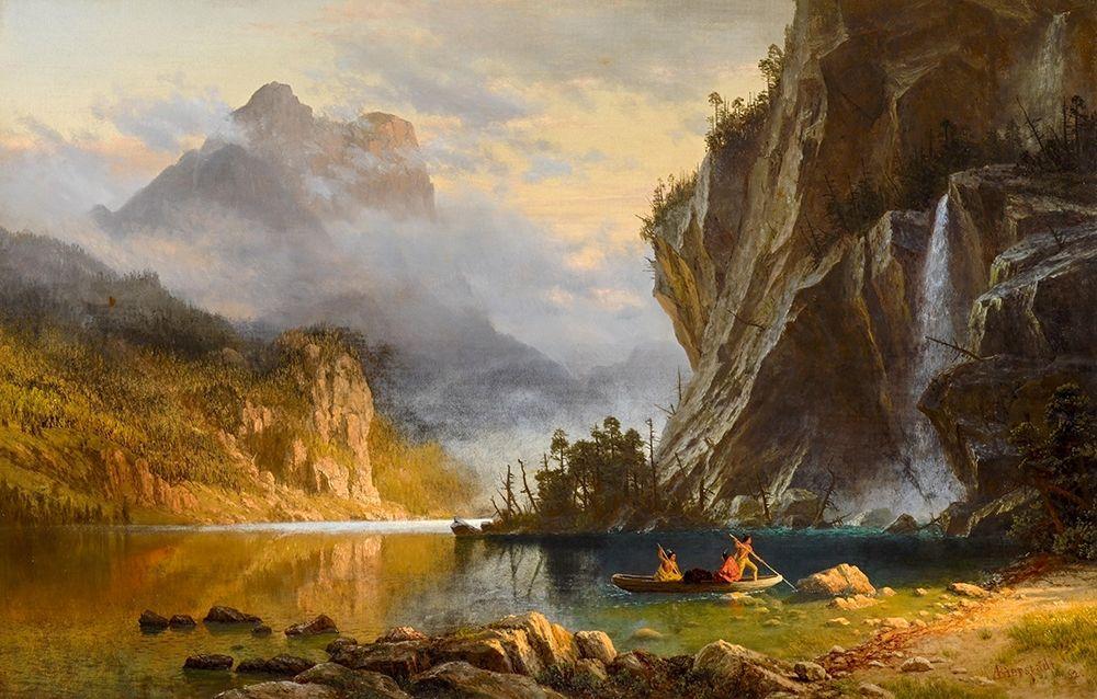 konfigurieren des Kunstdrucks in Wunschgröße Indians Spear Fishing von Bierstadt, Albert