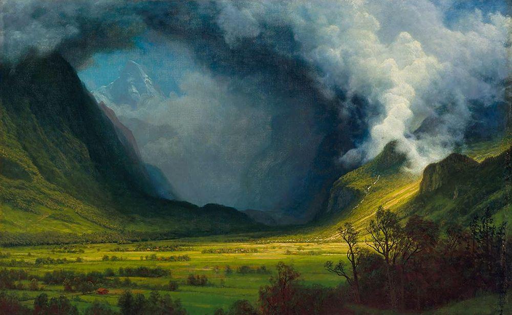 konfigurieren des Kunstdrucks in Wunschgröße Storm in the Mountains von Bierstadt, Albert