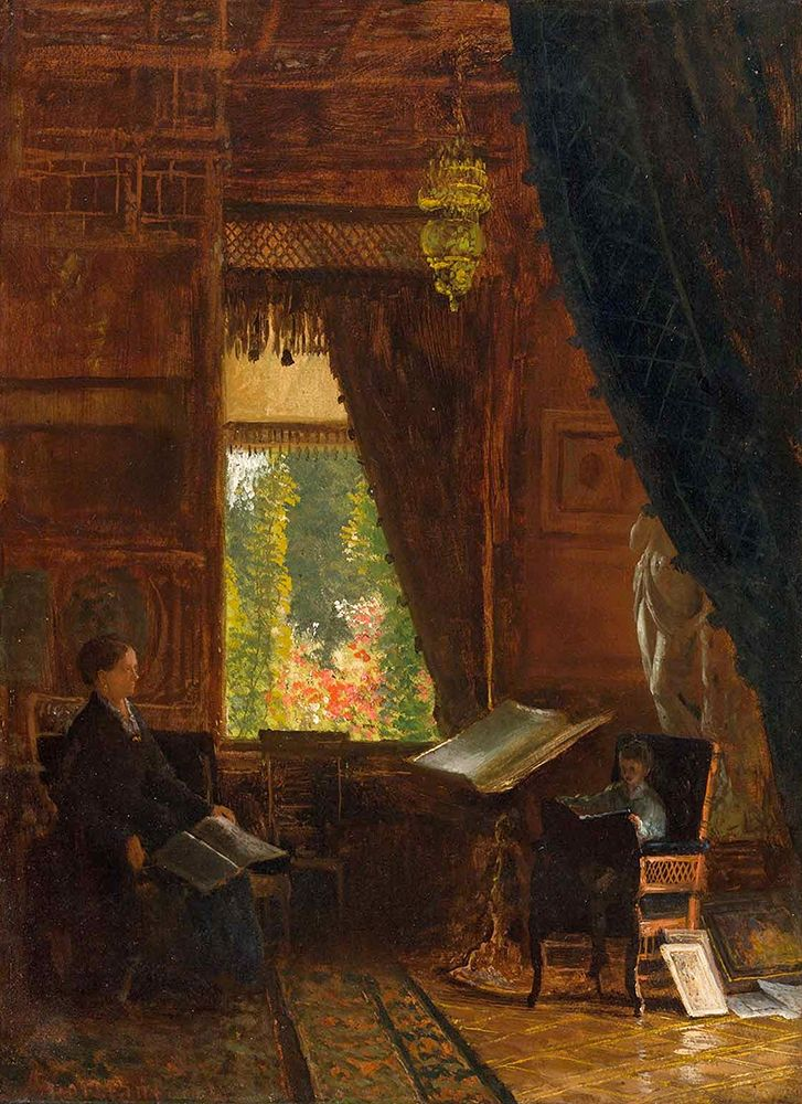 konfigurieren des Kunstdrucks in Wunschgröße Interior of a Library von Bierstadt, Albert