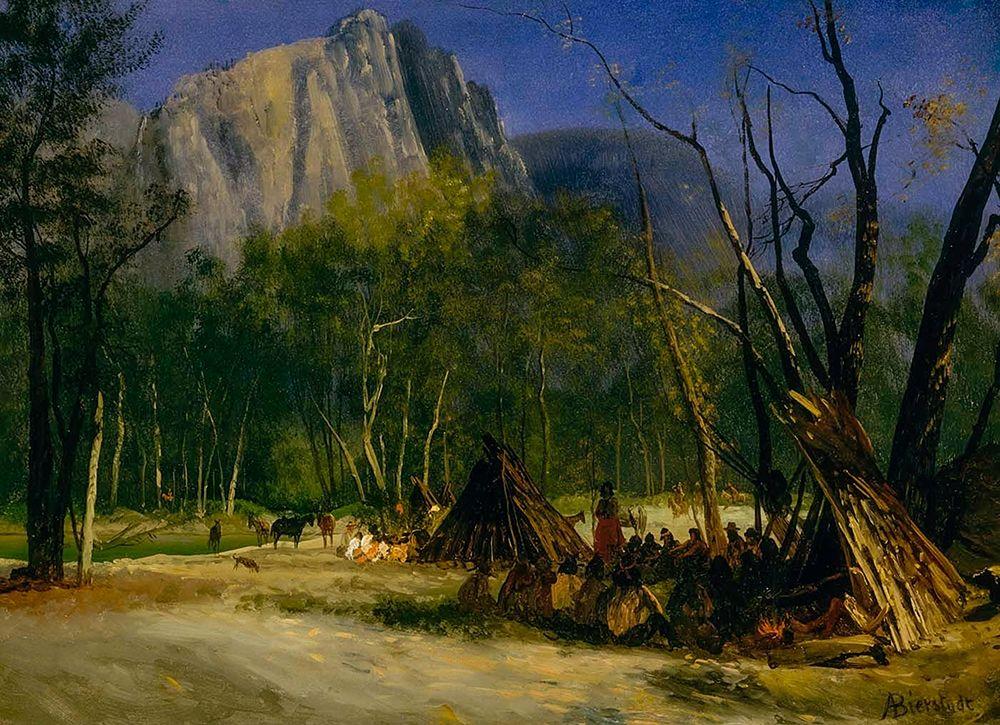 konfigurieren des Kunstdrucks in Wunschgröße Indians in Council, California von Bierstadt, Albert