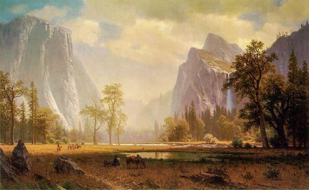 konfigurieren des Kunstdrucks in Wunschgröße Looking Up the Yosemite Valley von Bierstadt, Albert