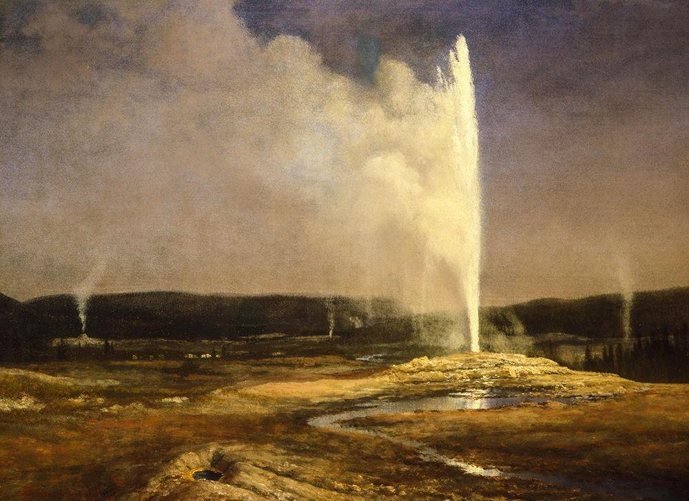 konfigurieren des Kunstdrucks in Wunschgröße Geysers in Yellowstone von Bierstadt, Albert