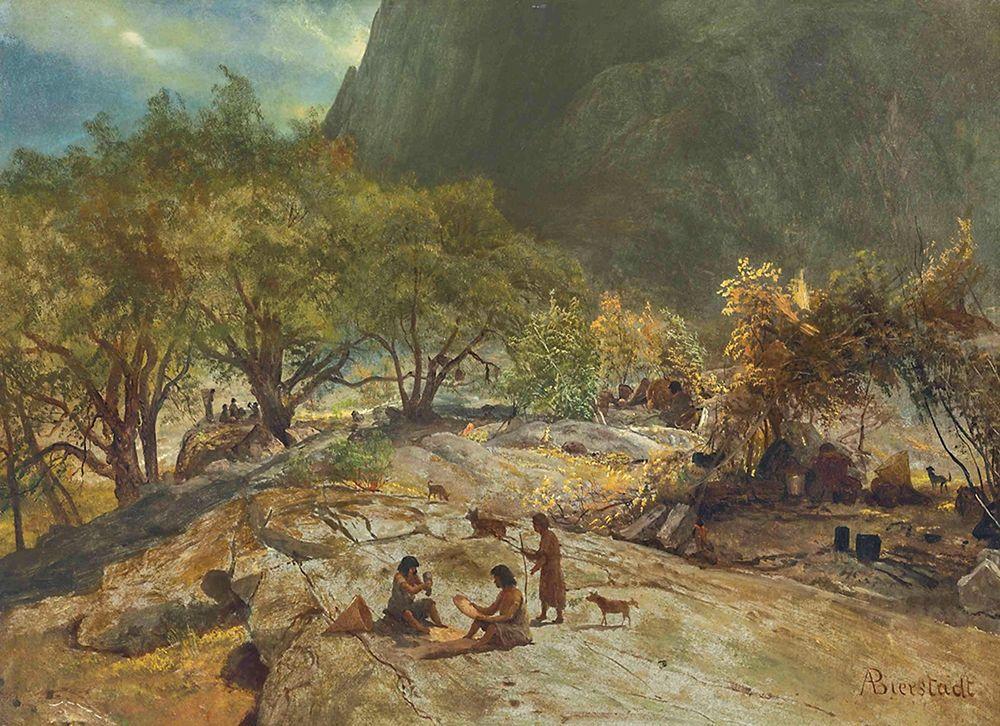 konfigurieren des Kunstdrucks in Wunschgröße Mariposa Indian Encampment, Yosemite Valley, California von Bierstadt, Albert
