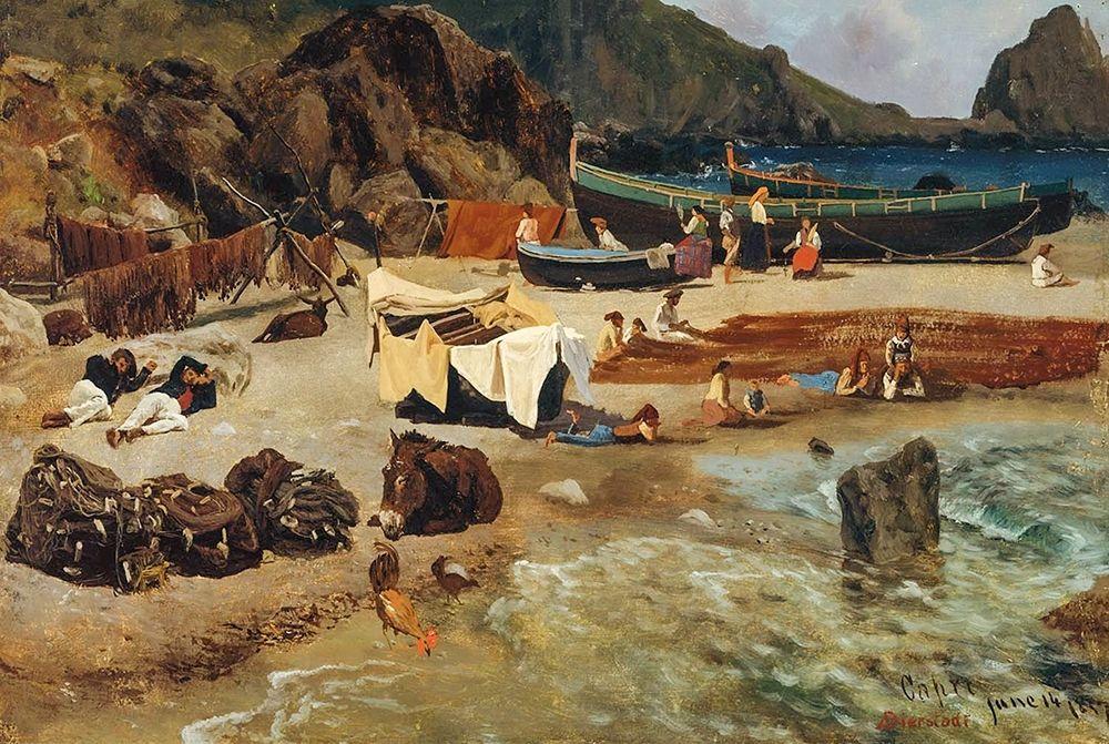 konfigurieren des Kunstdrucks in Wunschgröße Fishing Boats at Capri von Bierstadt, Albert
