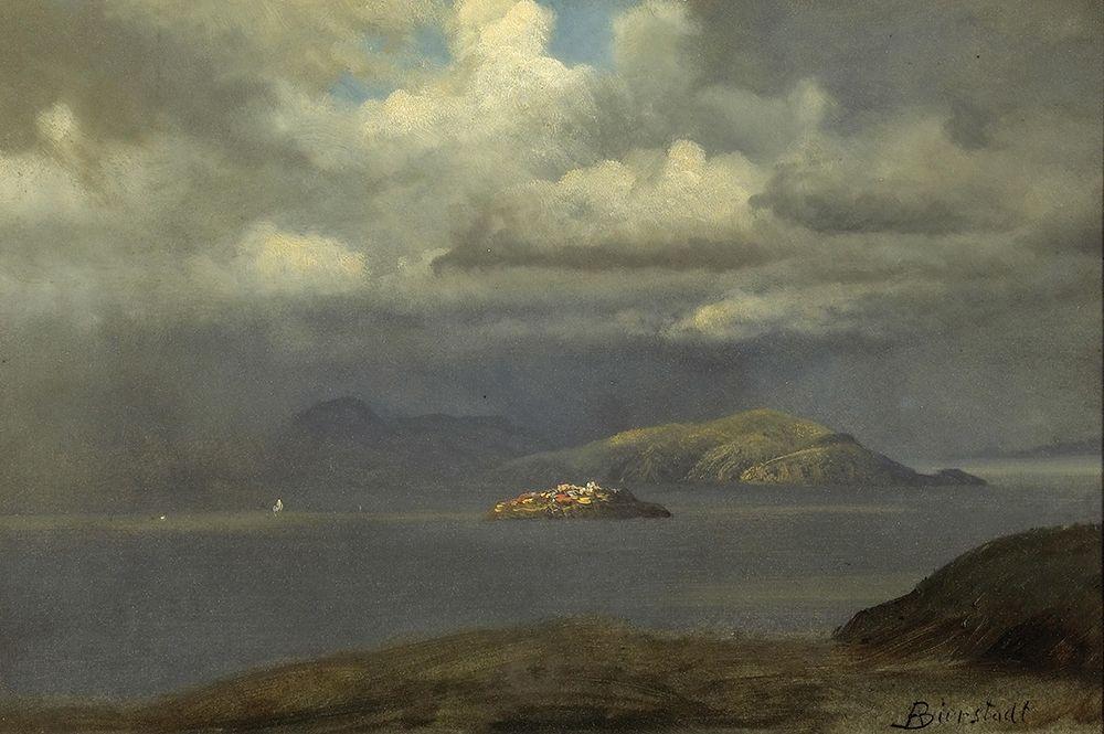 konfigurieren des Kunstdrucks in Wunschgröße Alcatraz, San Francisco Bay von Bierstadt, Albert