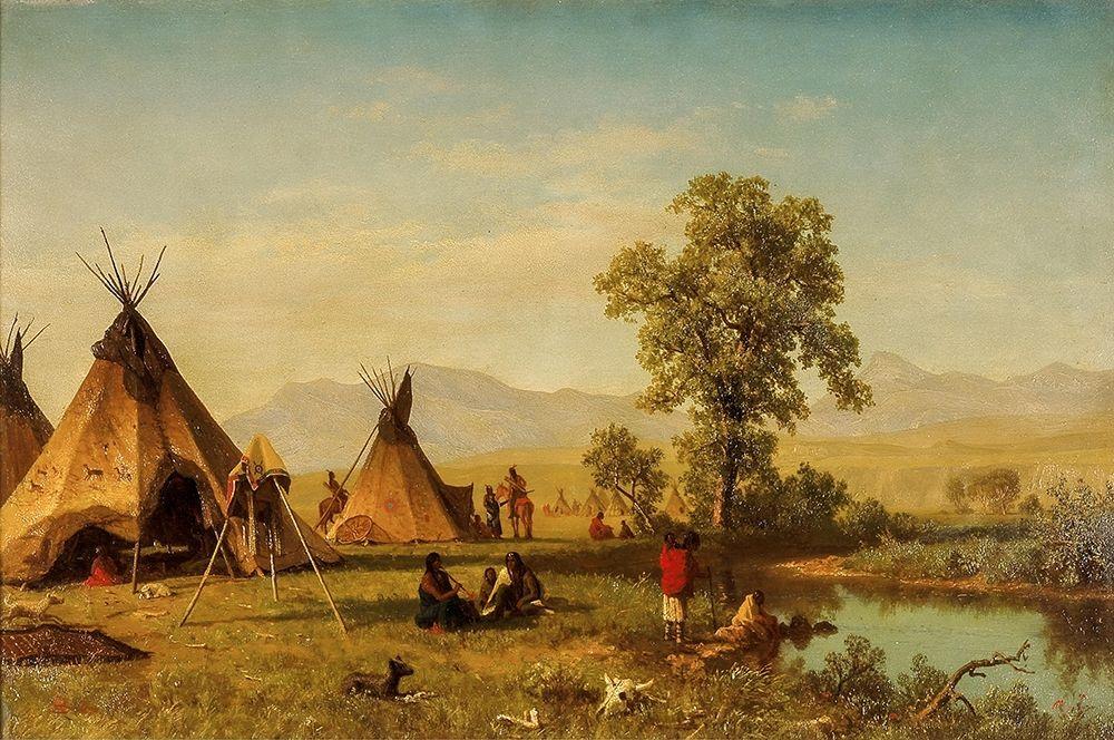 konfigurieren des Kunstdrucks in Wunschgröße Sioux Village near Fort Laramie von Bierstadt, Albert