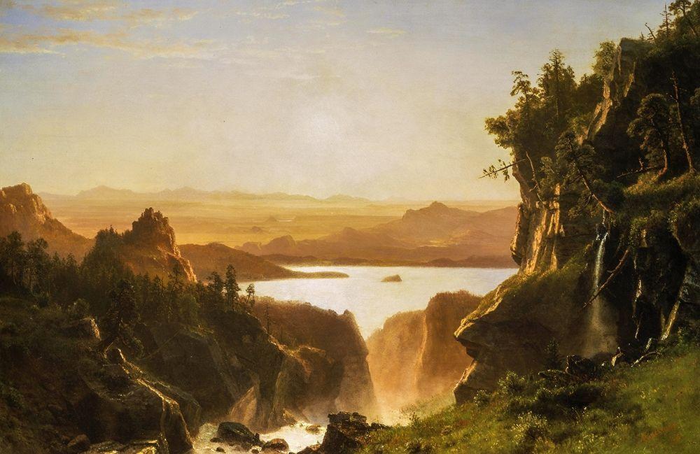 konfigurieren des Kunstdrucks in Wunschgröße Island Lake, Wind River Range, Wyoming von Bierstadt, Albert