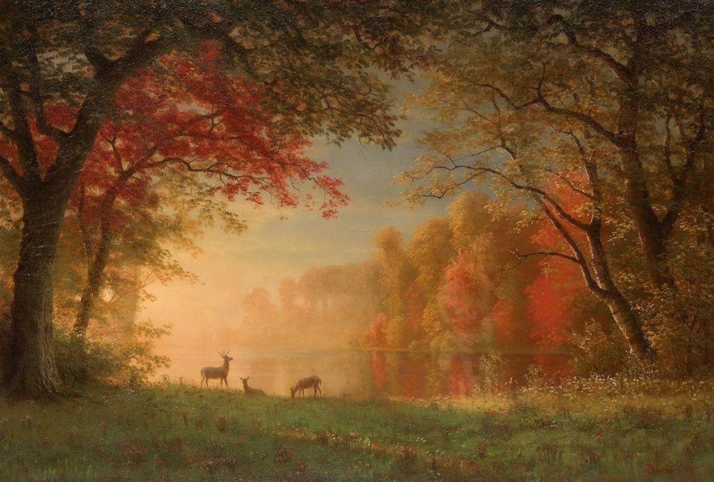 konfigurieren des Kunstdrucks in Wunschgröße Indian Sunset, Deer by a Lake von Bierstadt, Albert