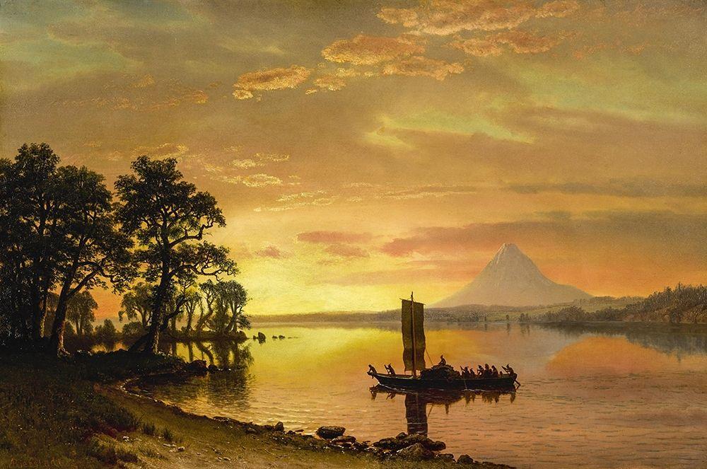 konfigurieren des Kunstdrucks in Wunschgröße Indians Crossing the Columbia River von Bierstadt, Albert