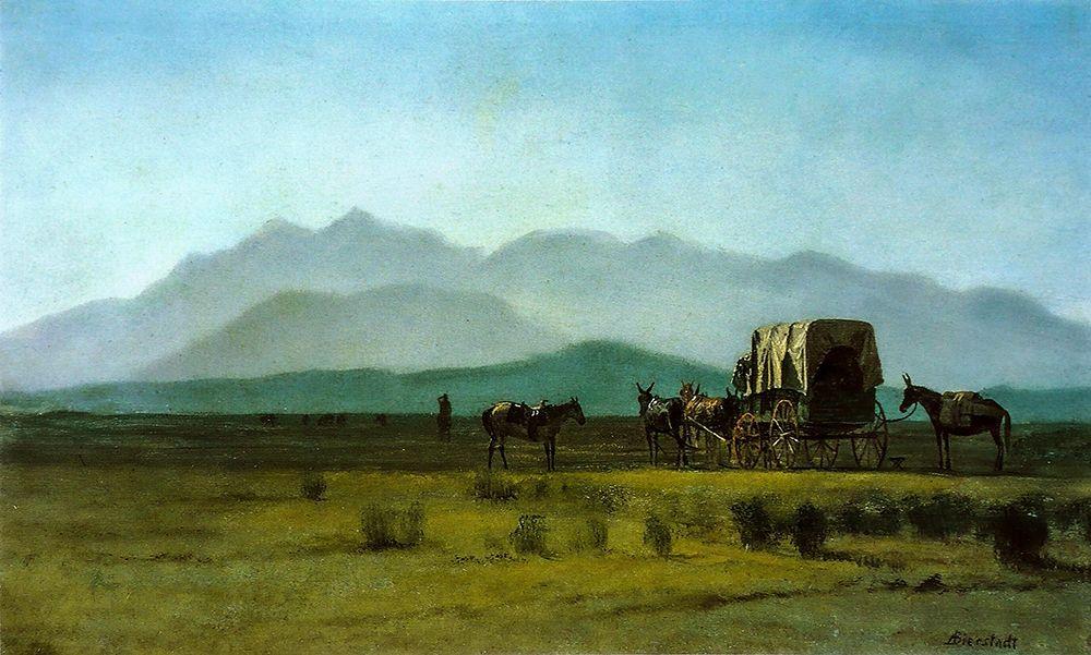 konfigurieren des Kunstdrucks in Wunschgröße Surveyor s Wagon in the Rockies von Bierstadt, Albert