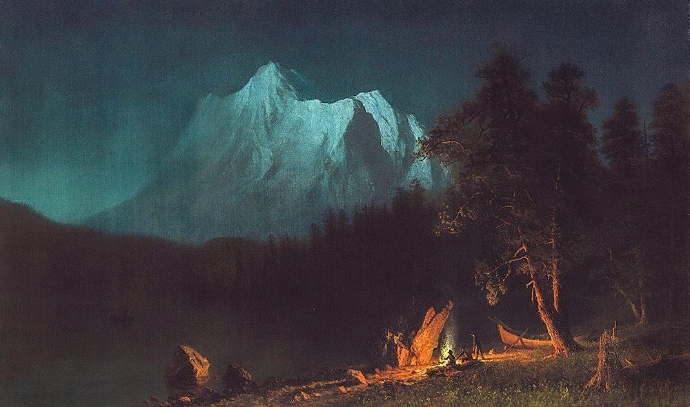 konfigurieren des Kunstdrucks in Wunschgröße Mountainous Landscape by Moonlight von Bierstadt, Albert