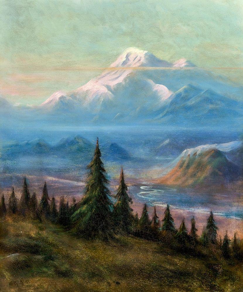 konfigurieren des Kunstdrucks in Wunschgröße Puyallup River Valley and Mount Rainier von Bierstadt, Albert