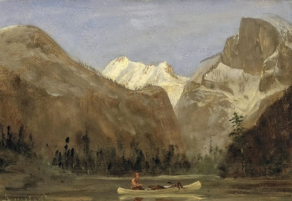 konfigurieren des Kunstdrucks in Wunschgröße Boating through Yosemite Valley with Half Dome in the Distance von Bierstadt, Albert