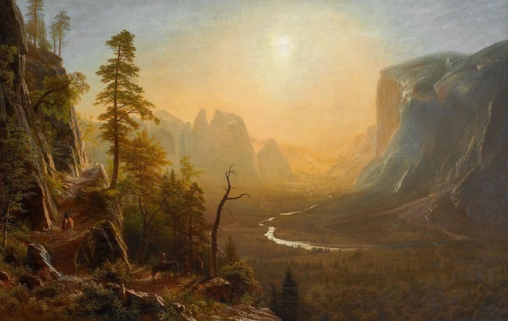 konfigurieren des Kunstdrucks in Wunschgröße Yosemite Valley Glacier Point Trail von Bierstadt, Albert