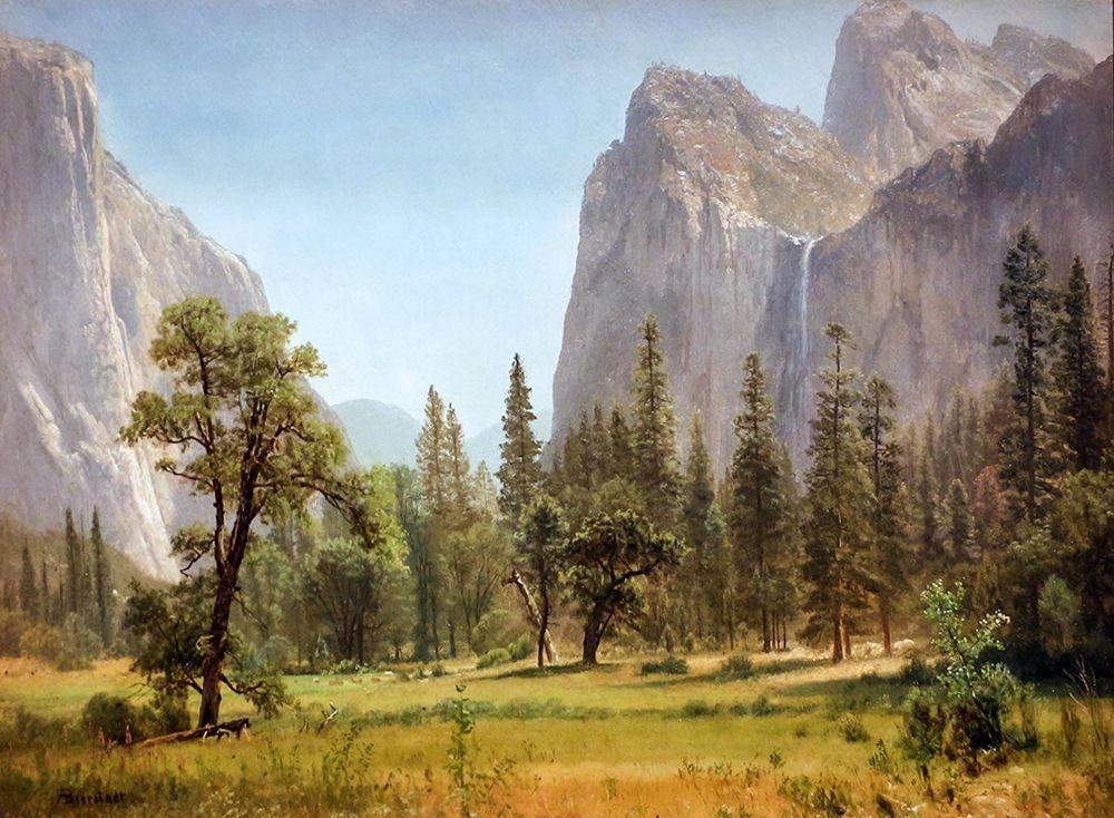 konfigurieren des Kunstdrucks in Wunschgröße Bridal Veil Falls, Yosemite Valley, California von Bierstadt, Albert