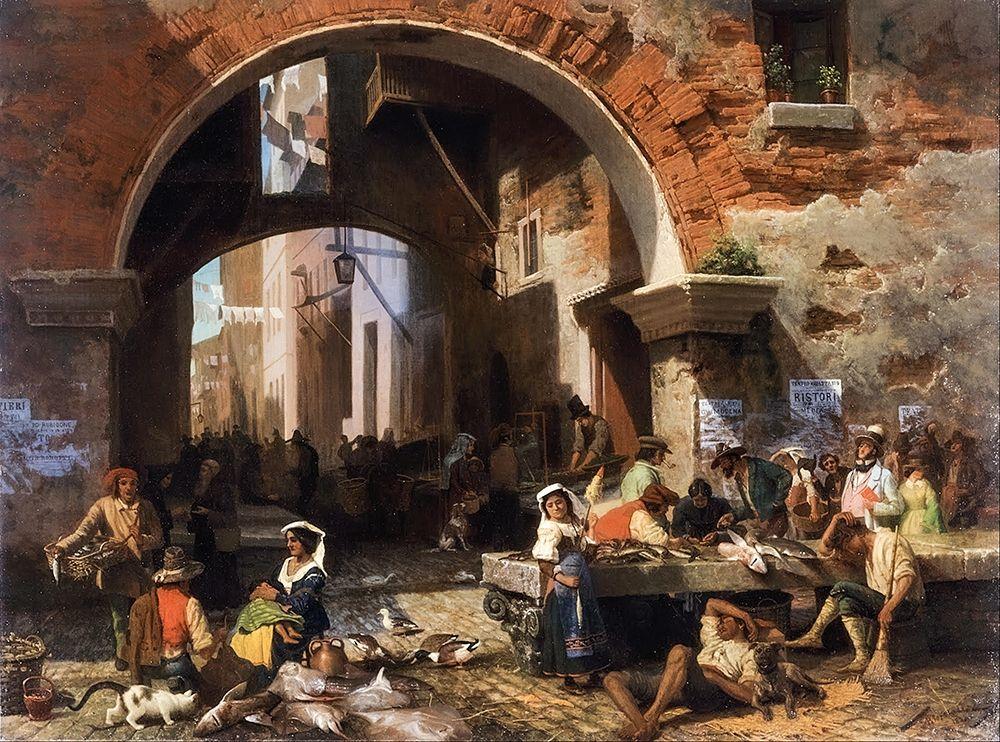konfigurieren des Kunstdrucks in Wunschgröße Roman Fish Market. Arch of Octavius von Bierstadt, Albert