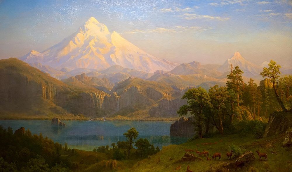 konfigurieren des Kunstdrucks in Wunschgröße Mount Hood von Bierstadt, Albert