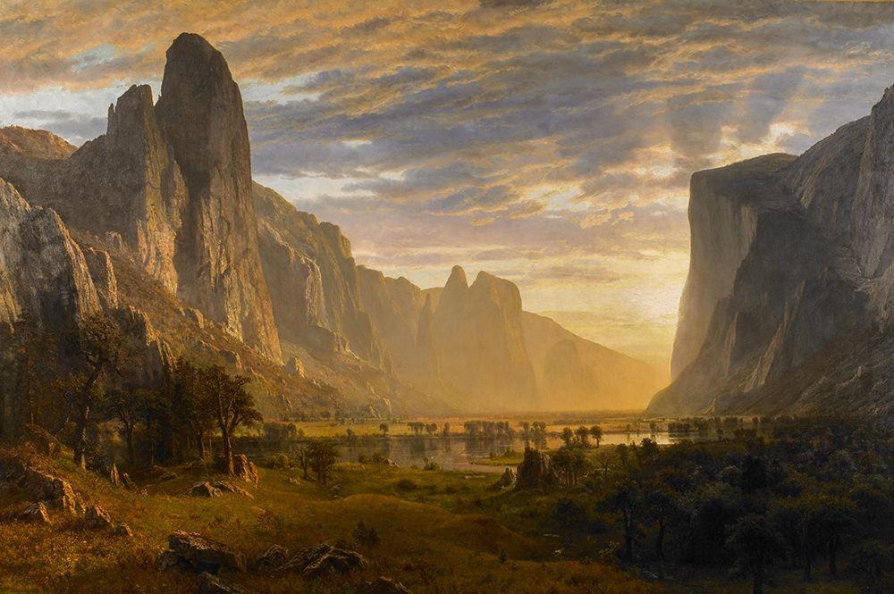konfigurieren des Kunstdrucks in Wunschgröße Looking Down Yosemite Valley von Bierstadt, Albert