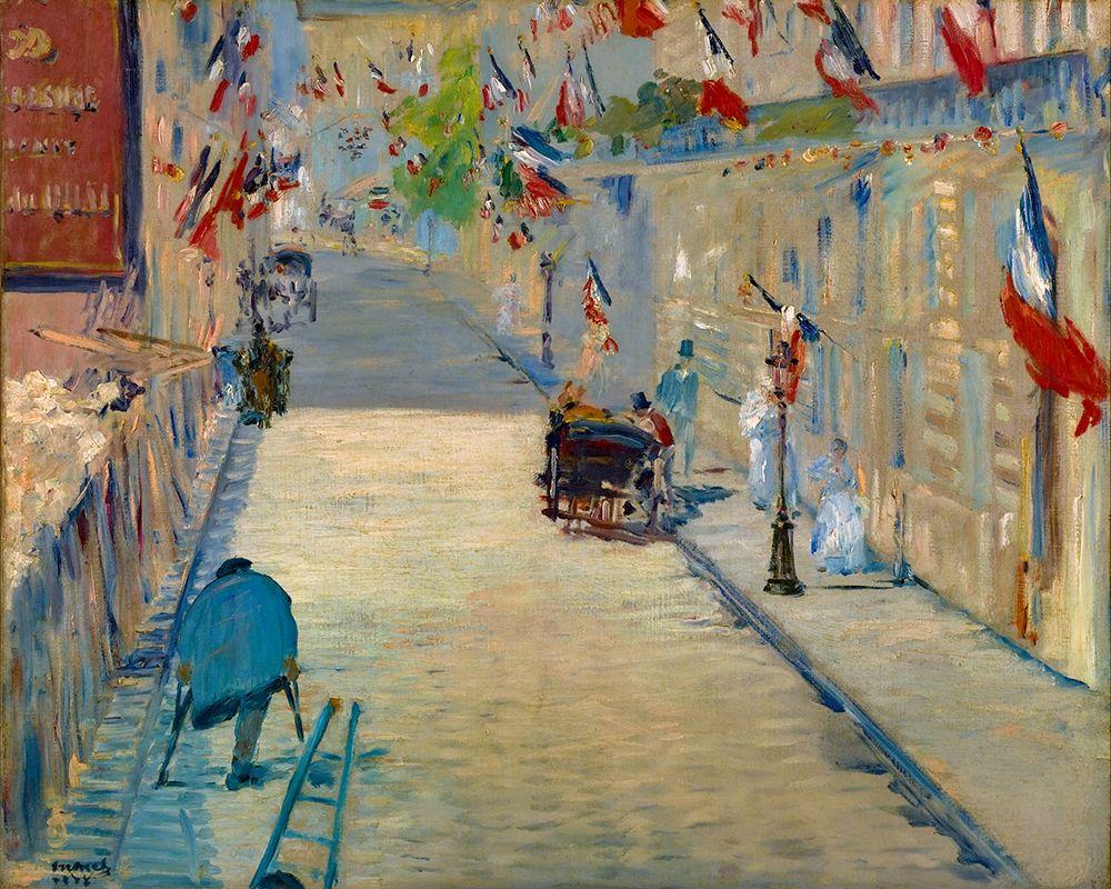konfigurieren des Kunstdrucks in Wunschgröße The Rue Mosnier with Flags von Manet, Edouard