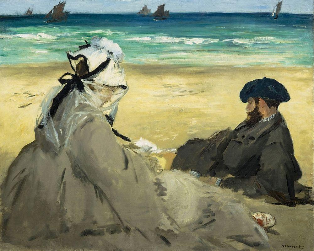 konfigurieren des Kunstdrucks in Wunschgröße On the Beach von Manet, Edouard