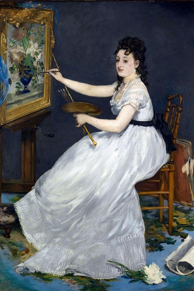 konfigurieren des Kunstdrucks in Wunschgröße Portrait of Eva Gonzales in Manets studio von Manet, Edouard