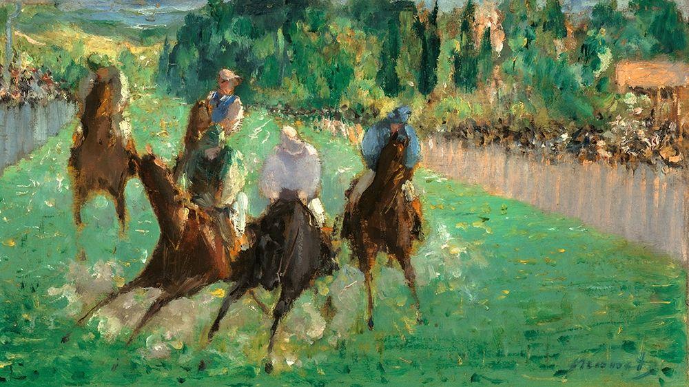 konfigurieren des Kunstdrucks in Wunschgröße At the Races von Manet, Edouard