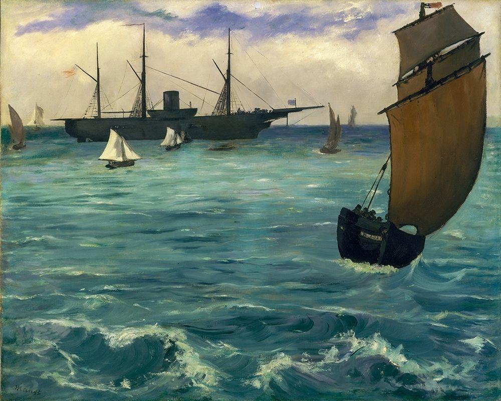 konfigurieren des Kunstdrucks in Wunschgröße The┬áKearsarge┬áat Boulogne von Manet, Edouard