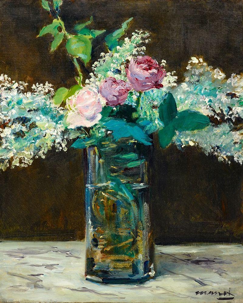 konfigurieren des Kunstdrucks in Wunschgröße Vase of White Lilacs and Roses von Manet, Edouard