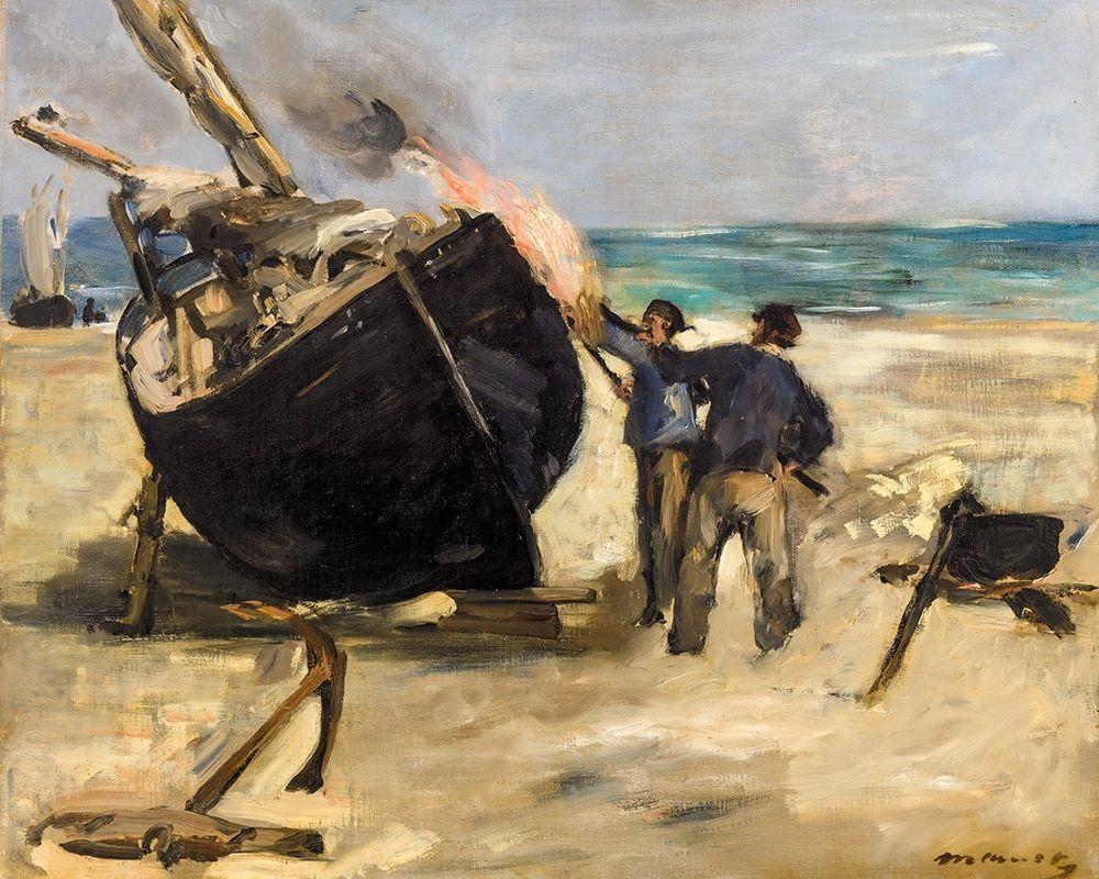 konfigurieren des Kunstdrucks in Wunschgröße Tarring the Boat┬á von Manet, Edouard