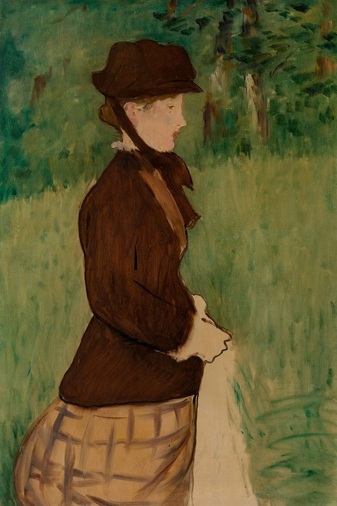 konfigurieren des Kunstdrucks in Wunschgröße Young Woman in a Garden von Manet, Edouard