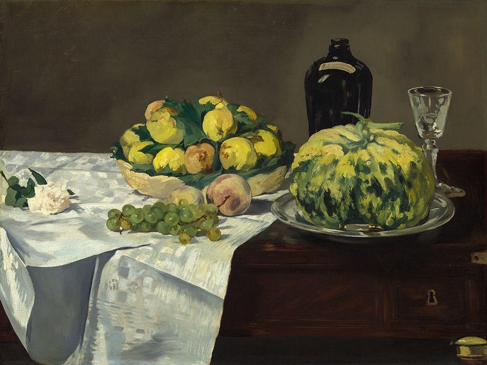konfigurieren des Kunstdrucks in Wunschgröße Still Life with Melon and Peaches von Manet, Edouard