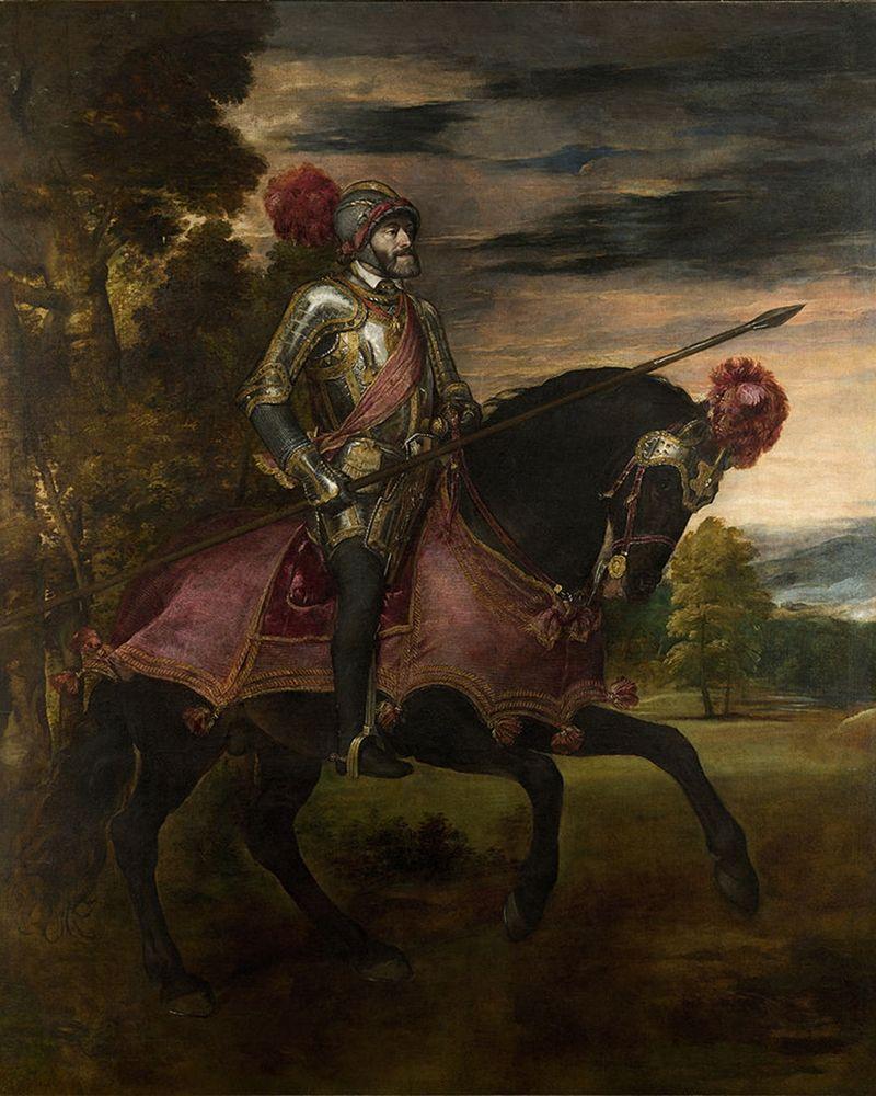 konfigurieren des Kunstdrucks in Wunschgröße Equestrian Portrait of Charles V von Titian
