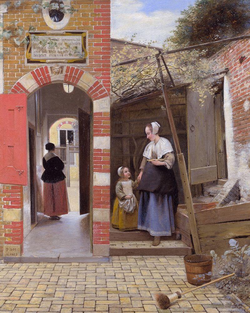 konfigurieren des Kunstdrucks in Wunschgröße The Courtyard of a House in Delft von de Hooch, Pieter