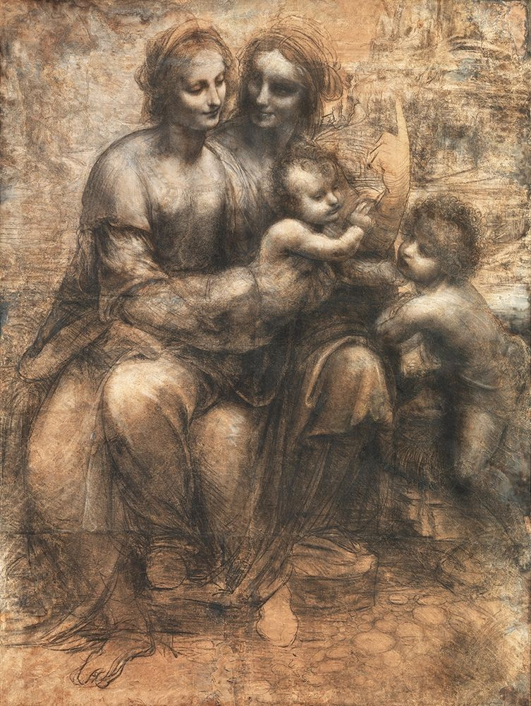 konfigurieren des Kunstdrucks in Wunschgröße The Virgin and Child with St Anne and St John the Baptist von Da Vinci, Leonardo