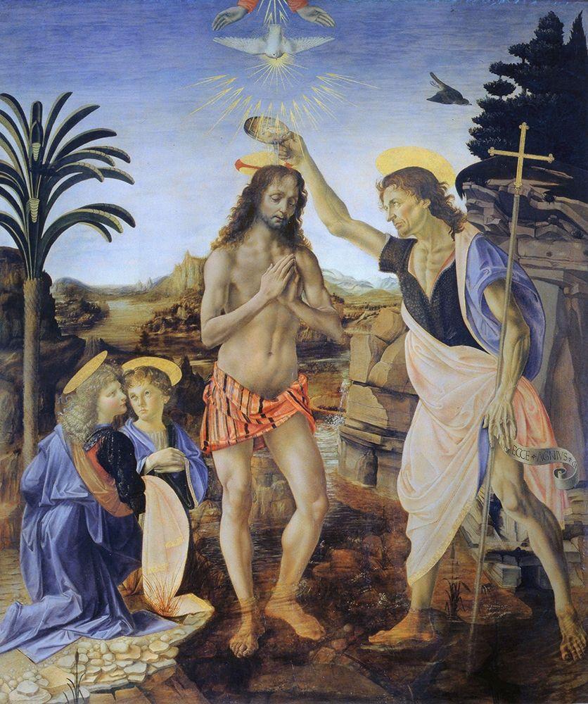 konfigurieren des Kunstdrucks in Wunschgröße Baptism of Christ von Da Vinci, Leonardo