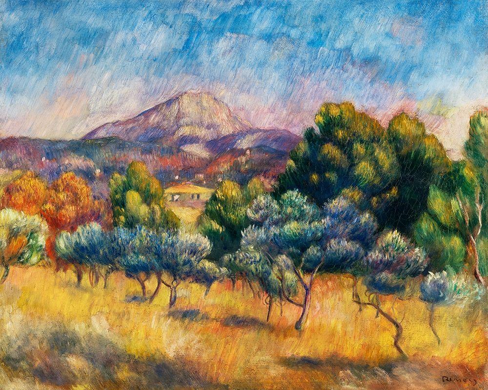 konfigurieren des Kunstdrucks in Wunschgröße Sainte Victoire Mountain Landscape 1889 von Renoir, Pierre-Auguste