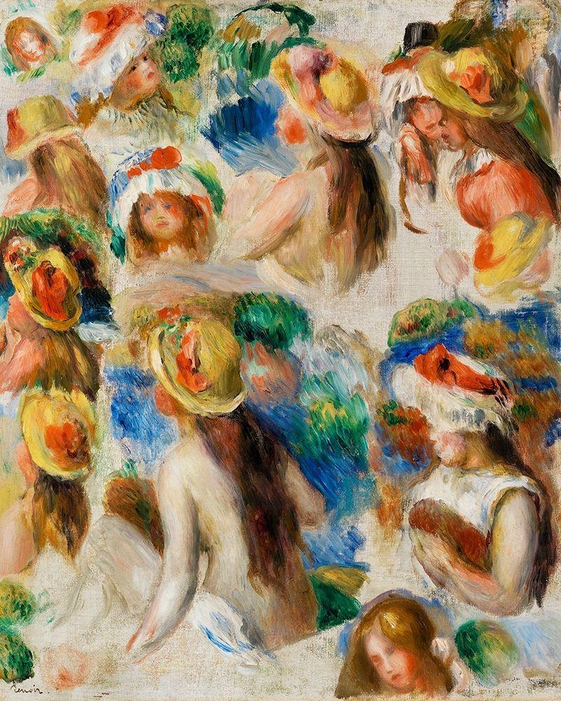 konfigurieren des Kunstdrucks in Wunschgröße Study of Heads 1890 von Renoir, Pierre-Auguste